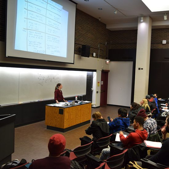 lecturer presenting to a class