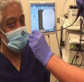 Patient undergoing procedure using Life Saver™ Mask Adaptor