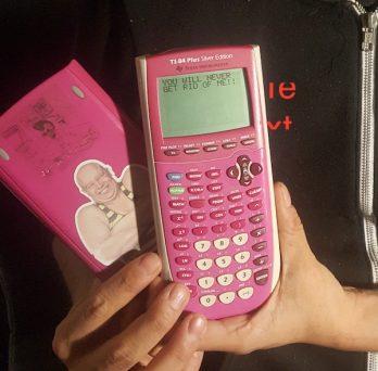 Jesus Ortiz with his beloved pink calculator